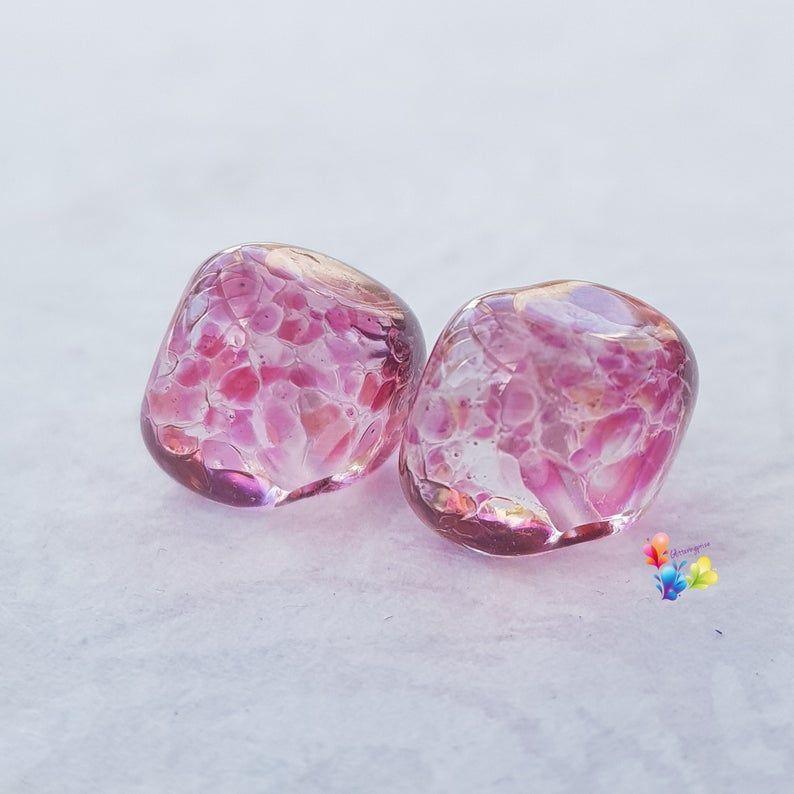 Sweet Cherry Kisses Nugget Lampwork Bead Pair