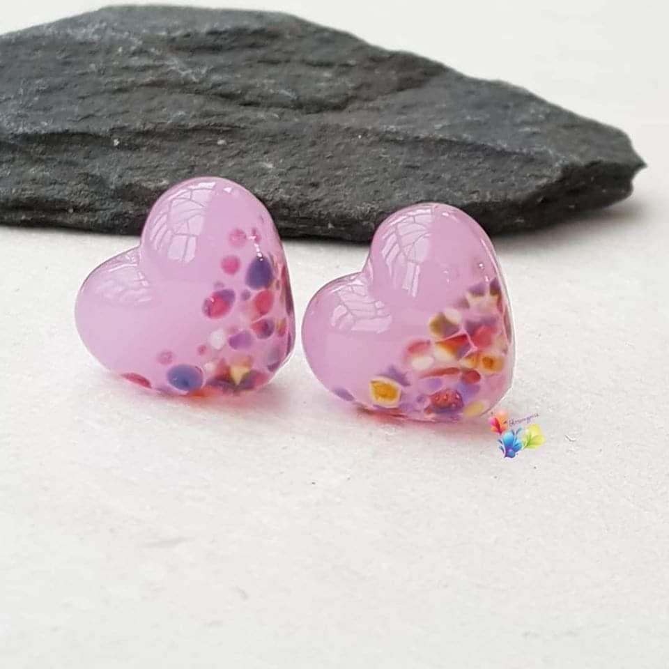 Rose Quartz Fantasy Heart Lampwork Beads