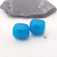 Blue Velvet Urban Scribble  Barrel  Lampwork Bead Pair