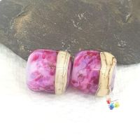 Pink Barrel Lampwork Bead Pair