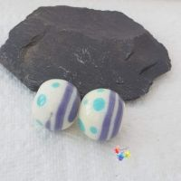 Miami Cream Round Lampwork Bead Pair