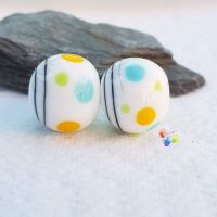 Tri Colour Polka  Lampwork Bead Pair