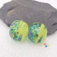 Lime Ribbon Nymph Glass Lampwork Beads