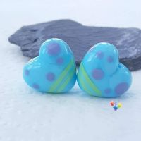 Miami Blue Heart Lampwork Beads