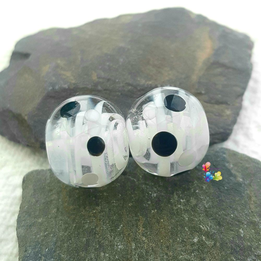 Monochrome Ribbon Glass Lampwork Beads