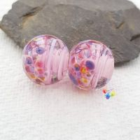 Tropical Pink Ribbon Glass Lampwork Beads