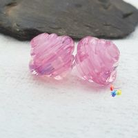 Pink Ribbon Spinner Glass Lampwork Beads