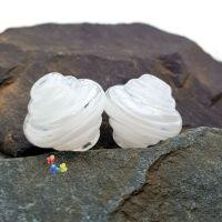 White Ribbon Spinner Glass Lampwork Beads