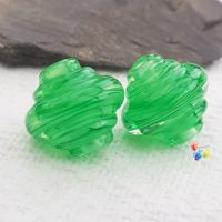 Green Ribbon Spinner Glass Lampwork Beads