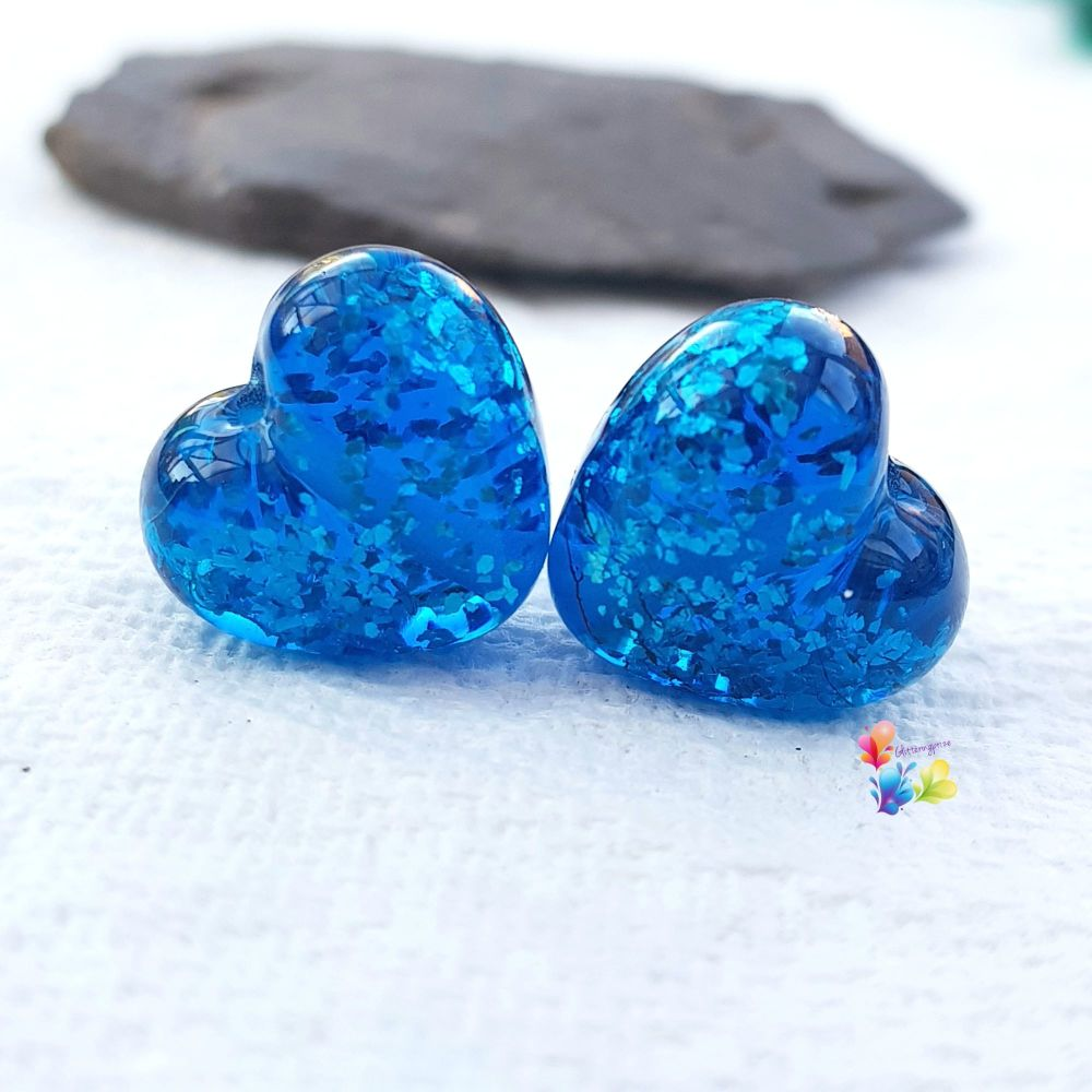 Aquamarine Sparkle Hearts Lampwork Bead Pair