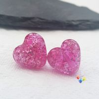 Hot Pink Sparkle Hearts Lampwork Bead Pair
