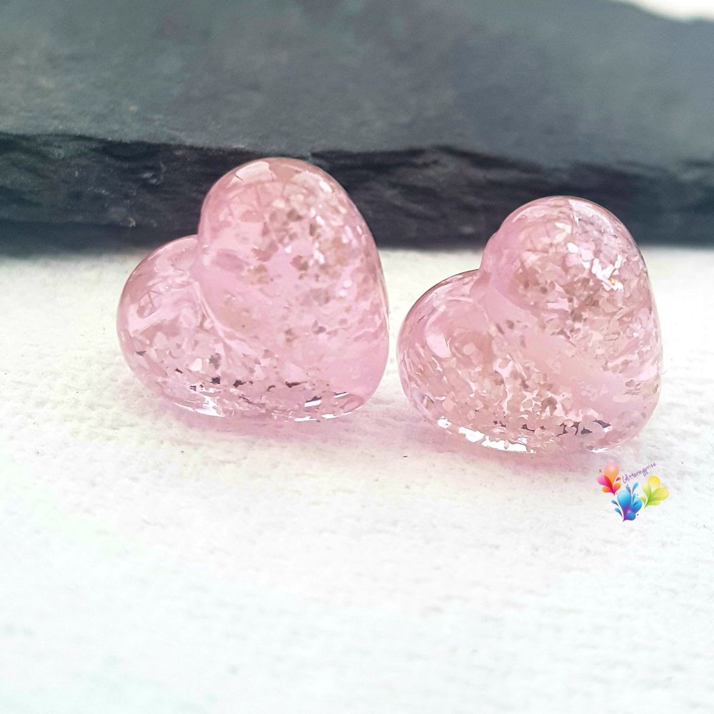 Pink Sparkle Hearts Lampwork Bead Pair