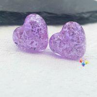 Lavender Sparkle Hearts Lampwork Bead Pair