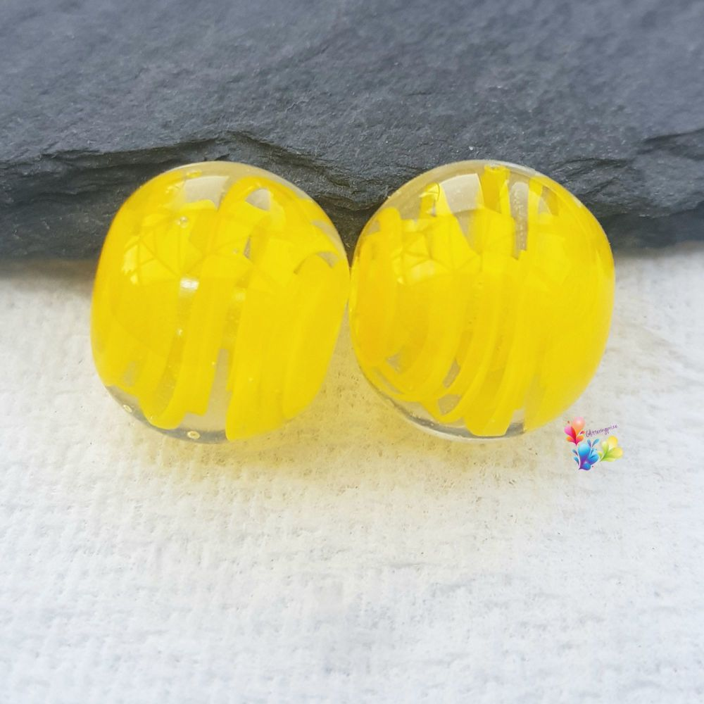 Yellow Ribbon Glass Lampwork Beads