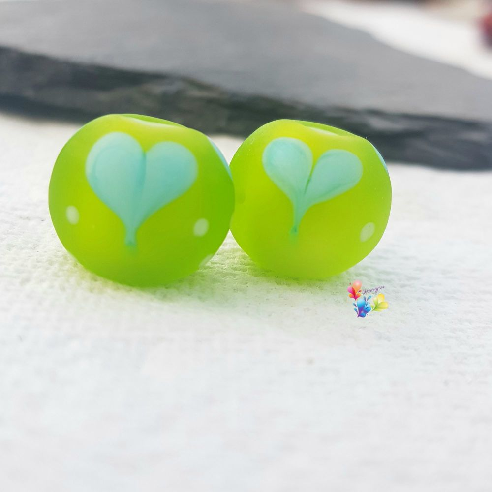 Turquoise Lime Love Heart Glass Lampwork Beads
