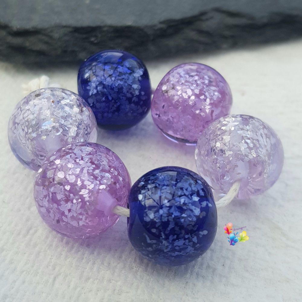 Purple Glitter Trio Lampwork Beads