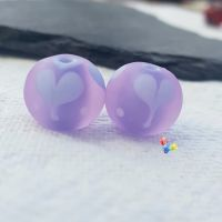 Cool Blushes Love Heart Glass Lampwork Beads