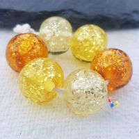Golden Glitter Trio Lampwork Beads