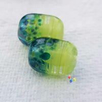 Water Lily Lime Ribbon Capsule Lampwork Bead Pair