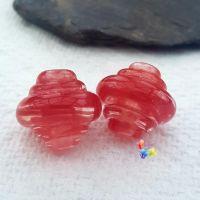 Red Ribbon Spinner Glass Lampwork Beads