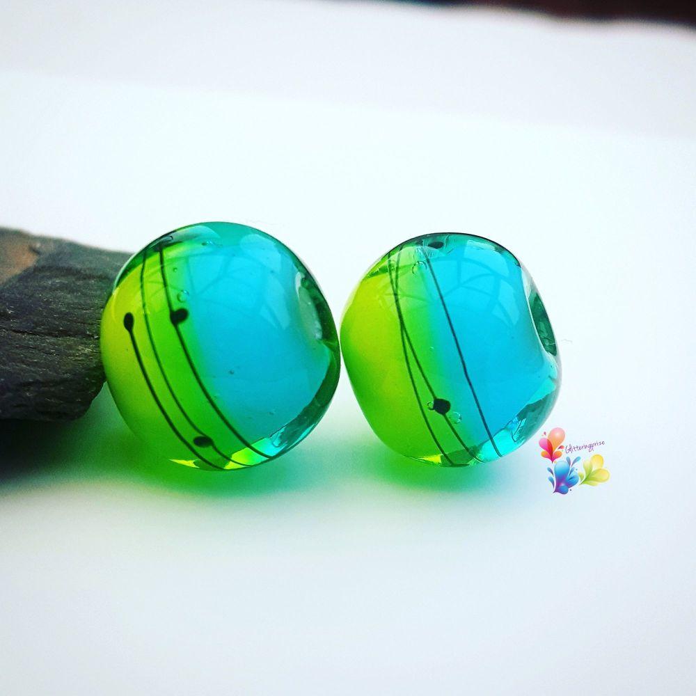 Tropicana Ombre Scribble Glass Lampwork Beads