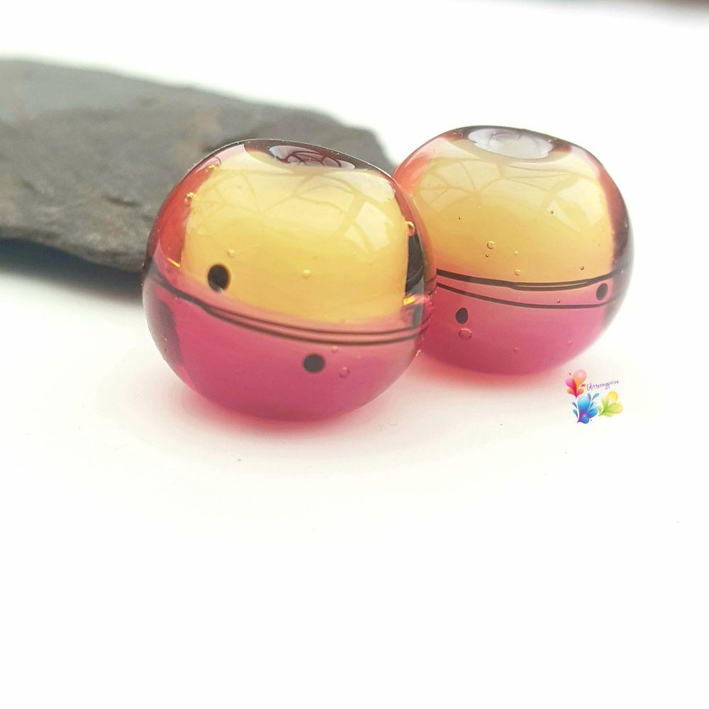 Rhubarb & Custard Scribble Glass Lampwork Beads