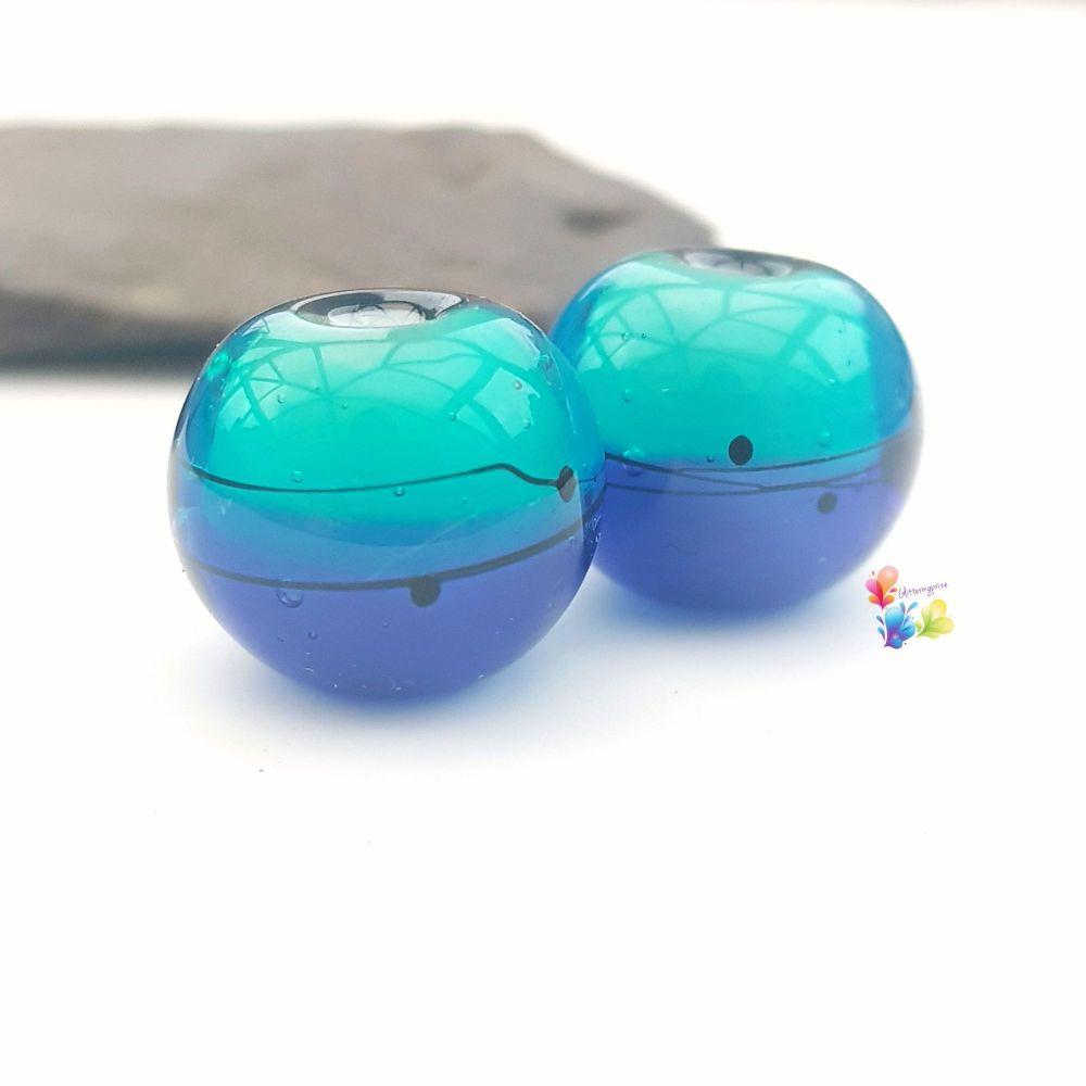 Ink & Teal Scribble Glass Lampwork Beads