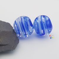 Blue & White Ribbon Glass Lampwork Beads