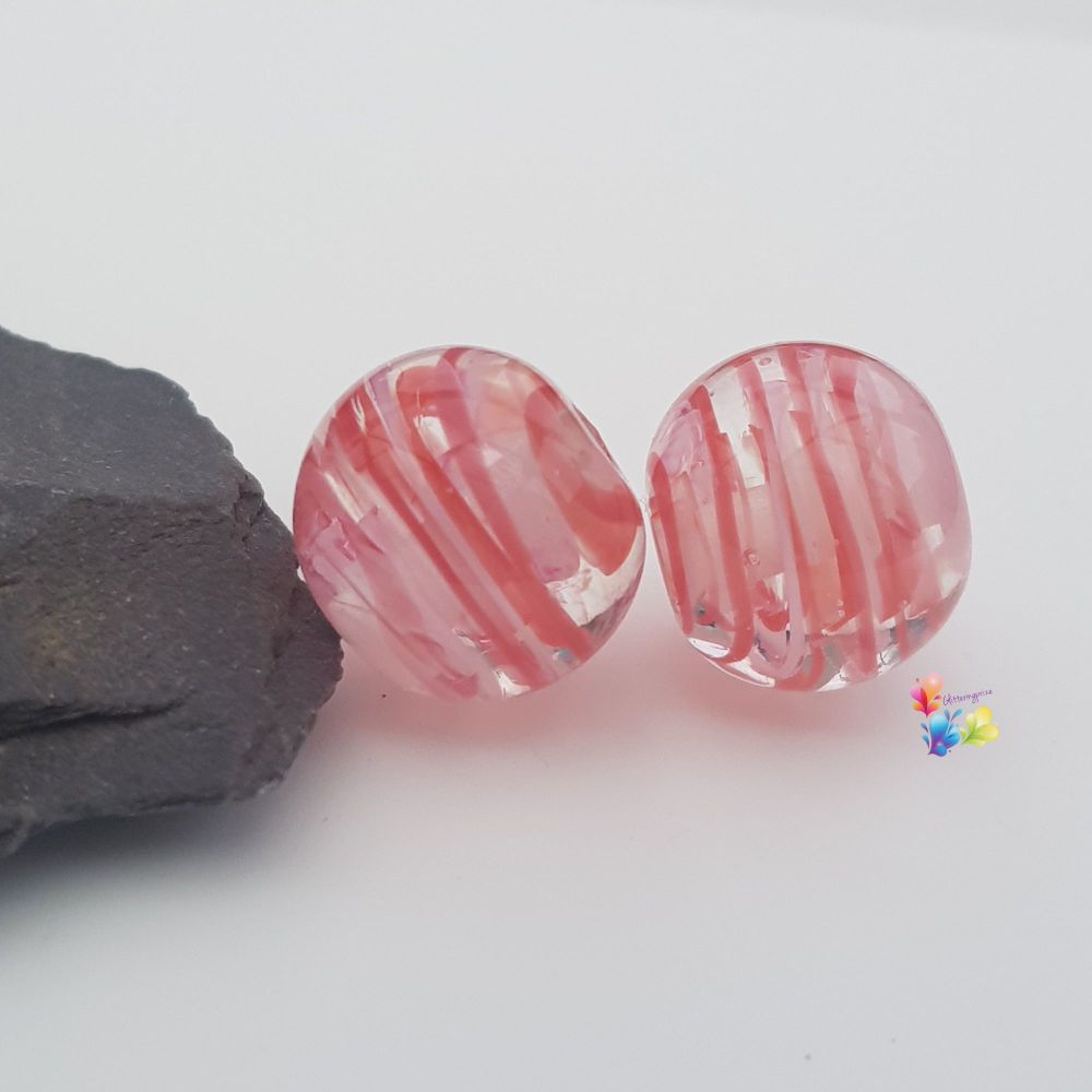 Red, Pink & White Ribbon Glass Lampwork Beads
