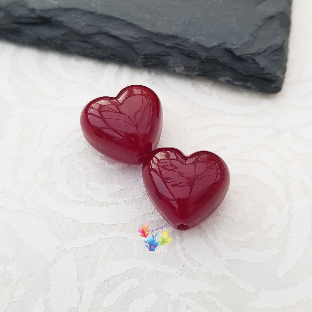 Garnet Red Hearts Lampwork Bead Pair