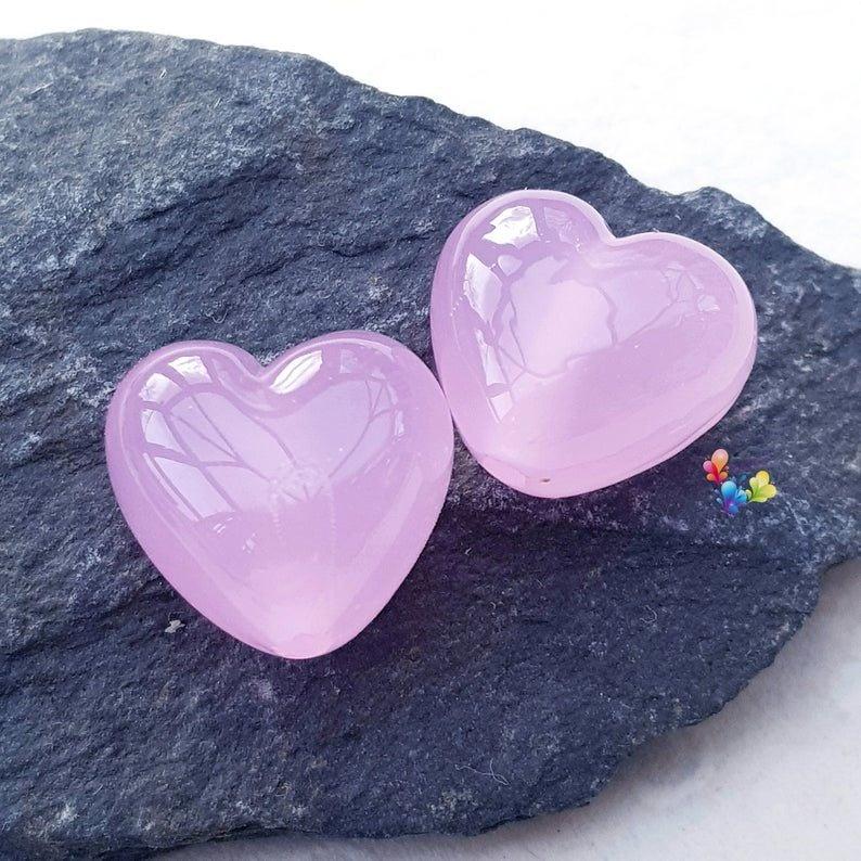 Rose Quartz Hearts Lampwork Bead Pair