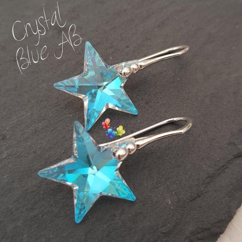 Crystal Blue AB Star earrings Sterling Silver