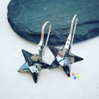 Swarovski Silver Grey Crystal Star earrings Sterling Silver