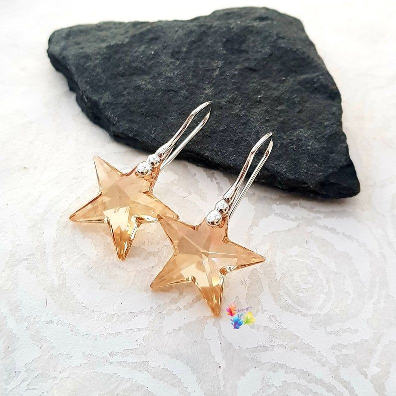 Swarovski Golden Crystal Star earrings Sterling Silver