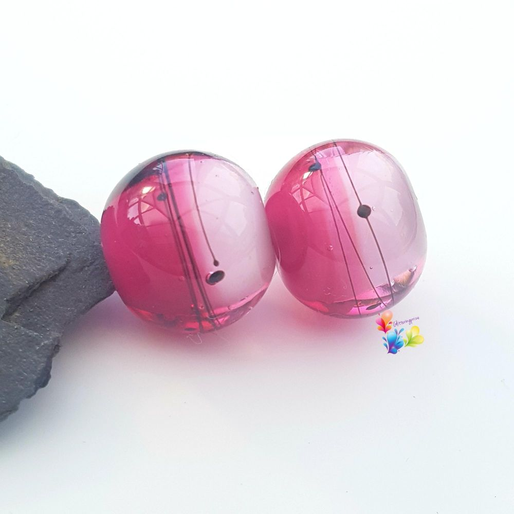 Pink Ombre Scribble Glass Lampwork Beads