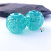 Ice Mint  Glitter Round Lampwork Bead Pair