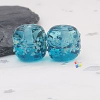 Blue Ombre Saltwater Blossom Glass Lampwork Beads