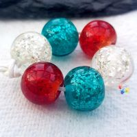 Christmas SILVER Glitter Trio Lampwork Beads
