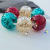 Christmas GOLD Glitter Trio Lampwork Beads