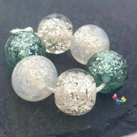 Ice Sparkle Glitter Trio Lampwork Beads