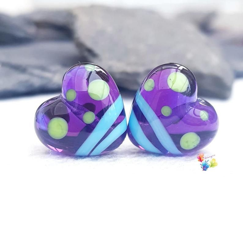 Quirky Purple Colourful Heart Lampwork Beads