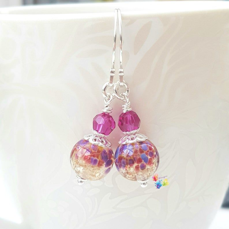 Pink Tropical Glitter Earrings Sterling Silver