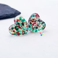 Christmas Holly Stained Glass Love Heart Pair