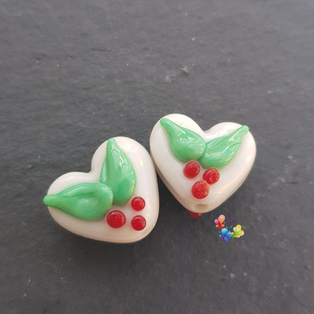 Christmas Holly Cream Glass Love Heart Pair