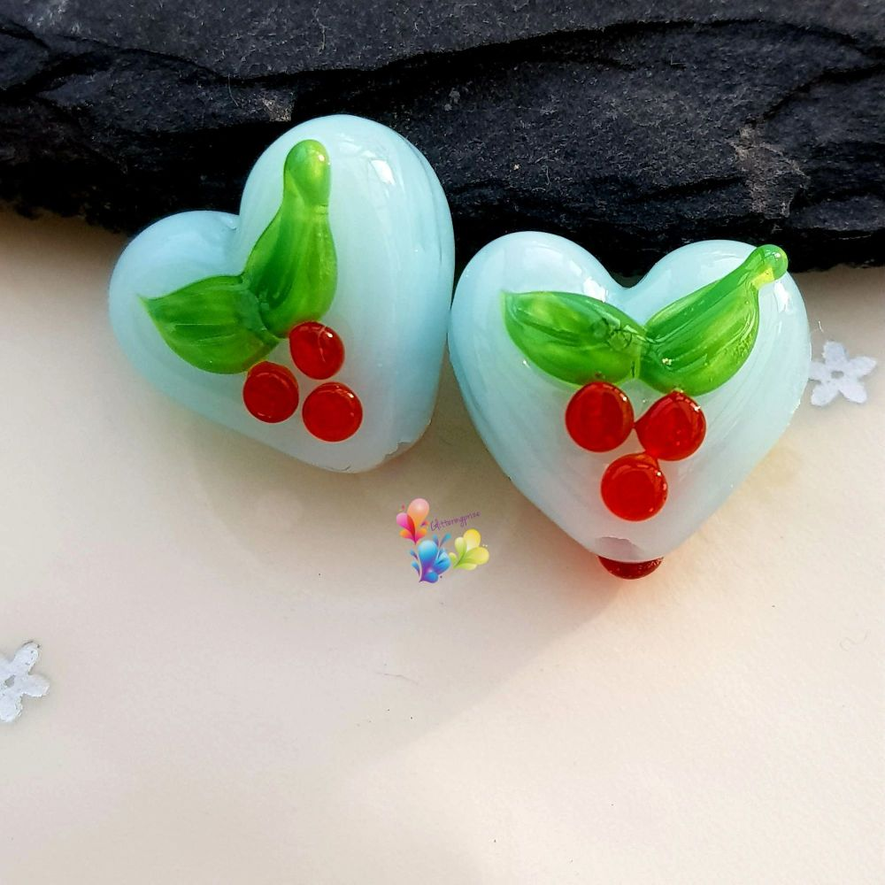 Christmas Holly Blue Glass Love Heart Pair