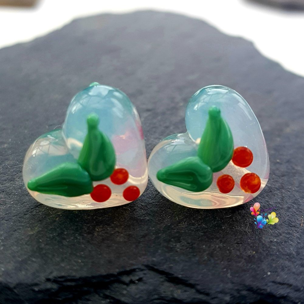 Christmas Holly Misty Glass Love Heart Pair