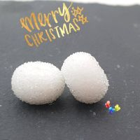 SMALL White Snowball  Lampwork Beads