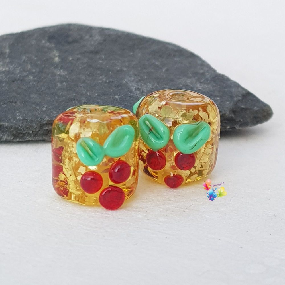 Gold Glitter Holly Lampwork Beads