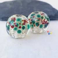 MEDIUM Silver Christmas Holly Globe Pair Lampwork Beads