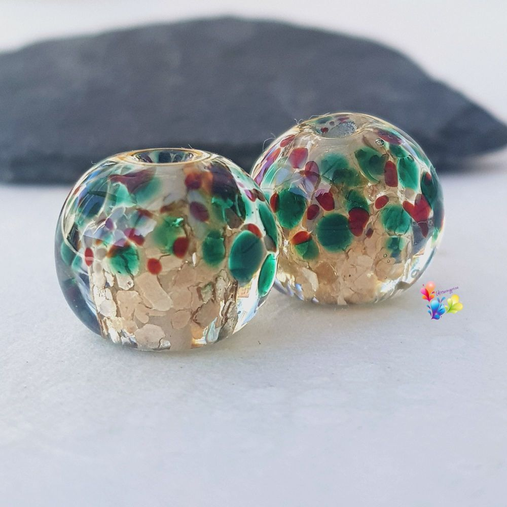 MEDIUM Gold Christmas Holly Globe Pair Lampwork Beads